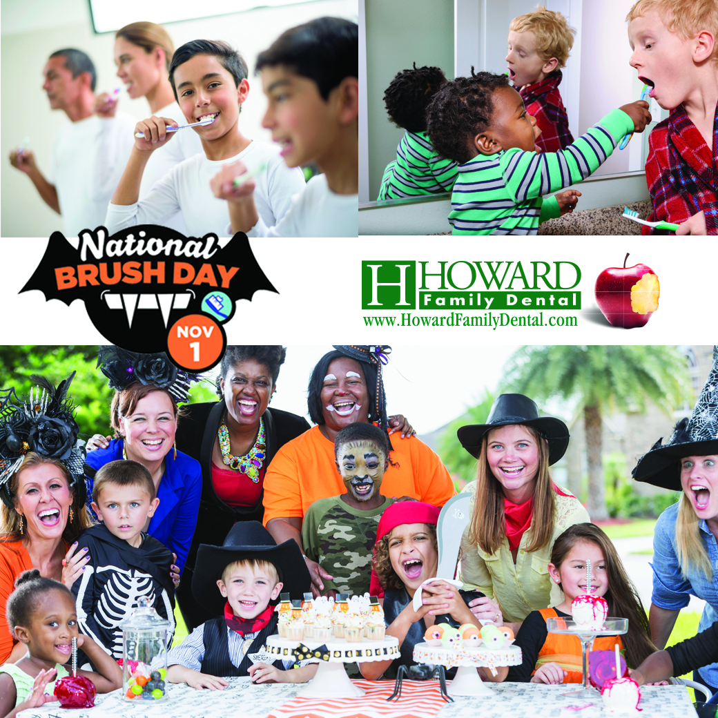 National Brush Day and Howard Family Dental logos over photos of children celebrating Halloween and brushing their teeth
